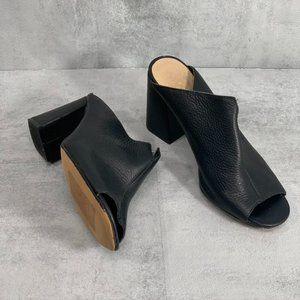Vince Camuto Jesika Black Pebble Leather Peep Toe